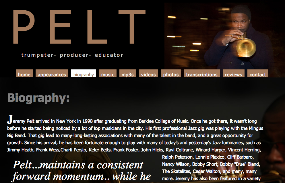 Jeremy Pelt website by Ben Azzara