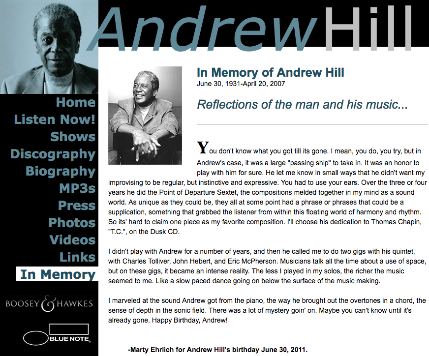Andrew Hill website by Ben Azzara