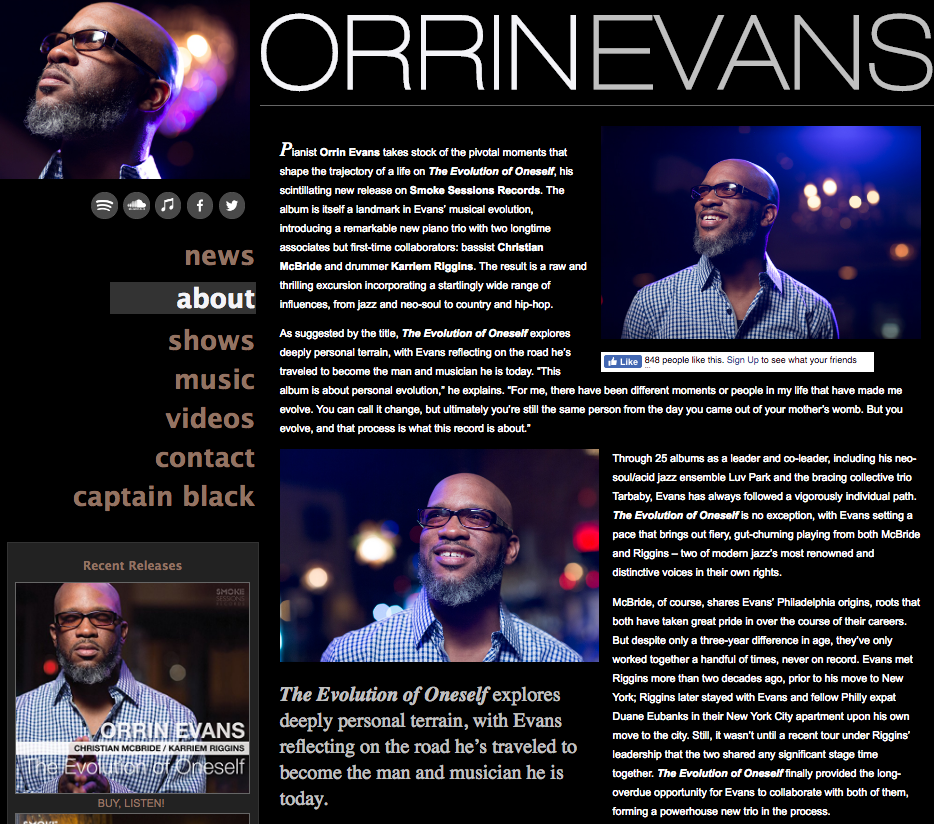 Orrin Evans website by Ben Azzara